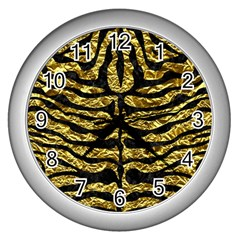 Skin2 Black Marble & Gold Foil (r) Wall Clocks (silver)  by trendistuff