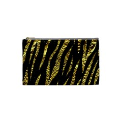 Skin3 Black Marble & Gold Foil Cosmetic Bag (small)  by trendistuff