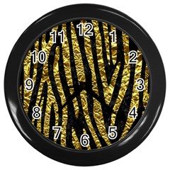 Skin4 Black Marble & Gold Foil (r) Wall Clocks (black) by trendistuff