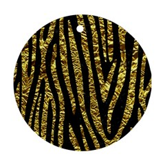 Skin4 Black Marble & Gold Foil (r) Round Ornament (two Sides) by trendistuff