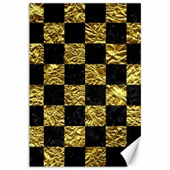 Square1 Black Marble & Gold Foil Canvas 12  X 18   by trendistuff