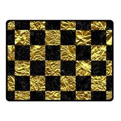 Square1 Black Marble & Gold Foil Fleece Blanket (small) by trendistuff