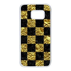 Square1 Black Marble & Gold Foil Samsung Galaxy S7 White Seamless Case by trendistuff