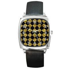 Square2 Black Marble & Gold Foil Square Metal Watch by trendistuff