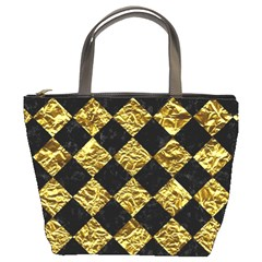 Square2 Black Marble & Gold Foil Bucket Bags by trendistuff
