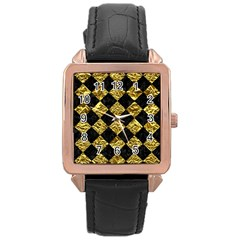 Square2 Black Marble & Gold Foil Rose Gold Leather Watch  by trendistuff