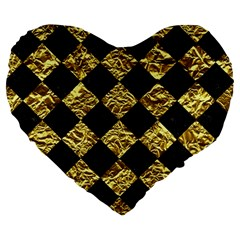 Square2 Black Marble & Gold Foil Large 19  Premium Flano Heart Shape Cushions by trendistuff