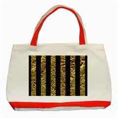 Stripes1 Black Marble & Gold Foil Classic Tote Bag (red) by trendistuff