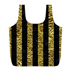 Stripes1 Black Marble & Gold Foil Full Print Recycle Bags (l)  by trendistuff