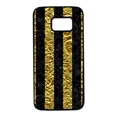 Stripes1 Black Marble & Gold Foil Samsung Galaxy S7 Black Seamless Case by trendistuff