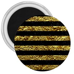 Stripes2 Black Marble & Gold Foil 3  Magnets by trendistuff