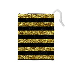 Stripes2 Black Marble & Gold Foil Drawstring Pouches (medium)  by trendistuff