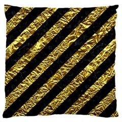 Stripes3 Black Marble & Gold Foil Large Cushion Case (two Sides) by trendistuff