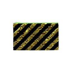Stripes3 Black Marble & Gold Foil Cosmetic Bag (xs) by trendistuff