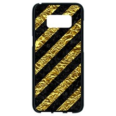 Stripes3 Black Marble & Gold Foil Samsung Galaxy S8 Black Seamless Case by trendistuff