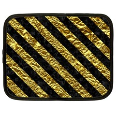 Stripes3 Black Marble & Gold Foil (r) Netbook Case (xxl)  by trendistuff