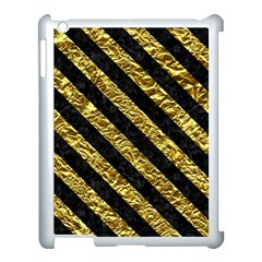 Stripes3 Black Marble & Gold Foil (r) Apple Ipad 3/4 Case (white) by trendistuff