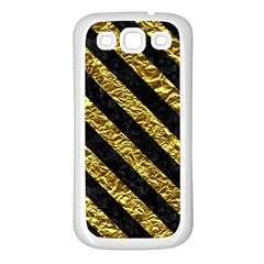 Stripes3 Black Marble & Gold Foil (r) Samsung Galaxy S3 Back Case (white) by trendistuff