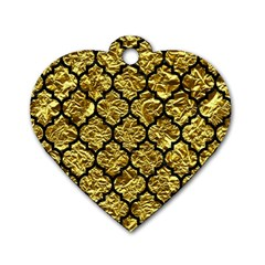 Tile1 Black Marble & Gold Foil (r) Dog Tag Heart (one Side) by trendistuff