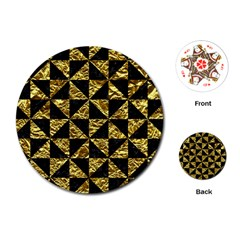 Triangle1 Black Marble & Gold Foil Playing Cards (round)
