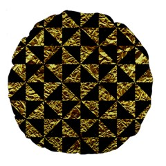 Triangle1 Black Marble & Gold Foil Large 18  Premium Flano Round Cushions by trendistuff