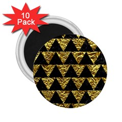 Triangle2 Black Marble & Gold Foil 2 25  Magnets (10 Pack)