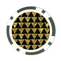 Triangle2 Black Marble & Gold Foil Poker Chip Card Guard by trendistuff