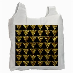 Triangle2 Black Marble & Gold Foil Recycle Bag (two Side)  by trendistuff