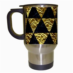 Triangle3 Black Marble & Gold Foil Travel Mugs (white) by trendistuff