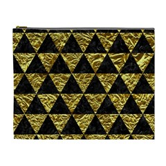 Triangle3 Black Marble & Gold Foil Cosmetic Bag (xl)