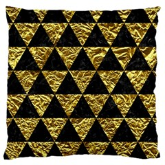 Triangle3 Black Marble & Gold Foil Large Cushion Case (one Side) by trendistuff