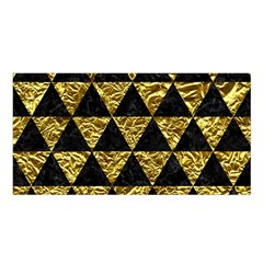 Triangle3 Black Marble & Gold Foil Satin Shawl by trendistuff