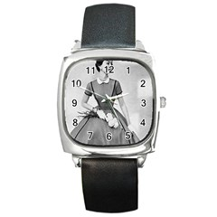 Classic 1950s Picture Square Leather Watch
