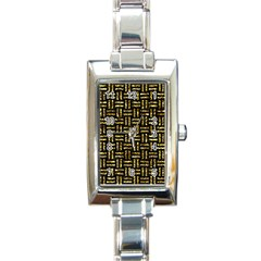 Woven1 Black Marble & Gold Foil Rectangle Italian Charm Watch by trendistuff
