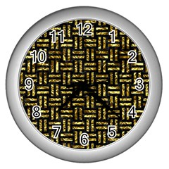 Woven1 Black Marble & Gold Foil Wall Clocks (silver)  by trendistuff