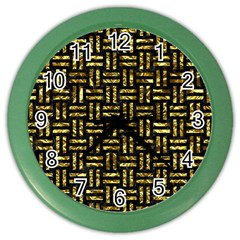 Woven1 Black Marble & Gold Foil Color Wall Clocks by trendistuff