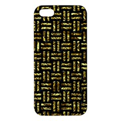 Woven1 Black Marble & Gold Foil Apple Iphone 5 Premium Hardshell Case by trendistuff
