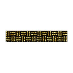 Woven1 Black Marble & Gold Foil Flano Scarf (mini) by trendistuff