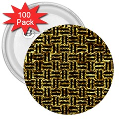 Woven1 Black Marble & Gold Foil (r) 3  Buttons (100 Pack)