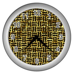 Woven1 Black Marble & Gold Foil (r) Wall Clocks (silver)  by trendistuff