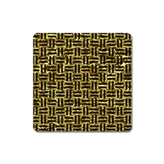 Woven1 Black Marble & Gold Foil (r) Square Magnet by trendistuff