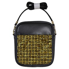 Woven1 Black Marble & Gold Foil (r) Girls Sling Bags by trendistuff