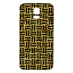 Woven1 Black Marble & Gold Foil (r) Samsung Galaxy S5 Back Case (white) by trendistuff