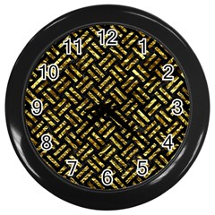 Woven2 Black Marble & Gold Foil Wall Clocks (black) by trendistuff