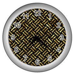Woven2 Black Marble & Gold Foil Wall Clocks (silver)  by trendistuff