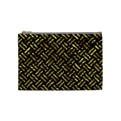 Woven2 Black Marble & Gold Foil Cosmetic Bag (medium)  by trendistuff