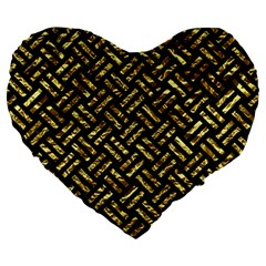 Woven2 Black Marble & Gold Foil Large 19  Premium Flano Heart Shape Cushions by trendistuff