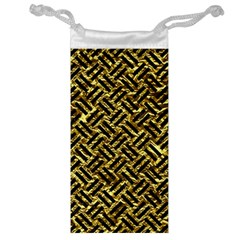 Woven2 Black Marble & Gold Foil (r) Jewelry Bag by trendistuff