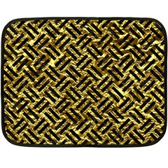 Woven2 Black Marble & Gold Foil (r) Fleece Blanket (mini) by trendistuff