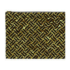 Woven2 Black Marble & Gold Foil (r) Cosmetic Bag (xl) by trendistuff